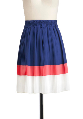 Cool as Ice Pops Skirt - Blue, Pink, White, Pleats, A-line, Colorblocking, Mid-length