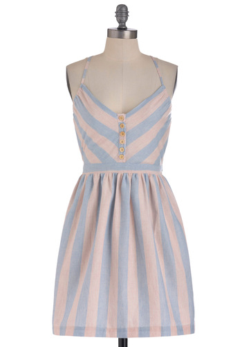 Farm Tour Dress - Mid-length, Blue, Pink, Stripes, Buttons, Pockets, Casual, A-line, Halter, Summer