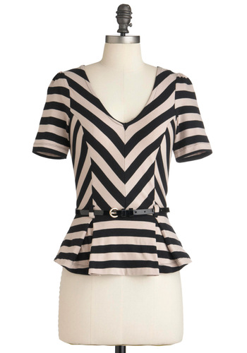 Bonbon Vivant Top - Short, Tan / Cream, Stripes, Short Sleeves, Belted, Peplum, Black, Pleats, Work, Press Placement, Cotton, Black, Short Sleeve
