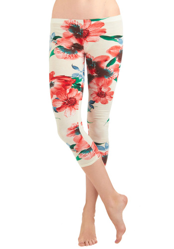 Princess and the Poppy Leggings - Cream, Green, Blue, Floral, Casual, Vintage Inspired, Multi, Red, Spring