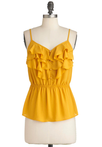 Drop Everything Top in Lemon - Yellow, Solid, Buttons, Ruffles, Casual, Spaghetti Straps, Summer, Mid-length