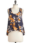 Feel-Good Foliage Top - Orange, Tan / Cream, Casual, Racerback, Blue, Floral, Short