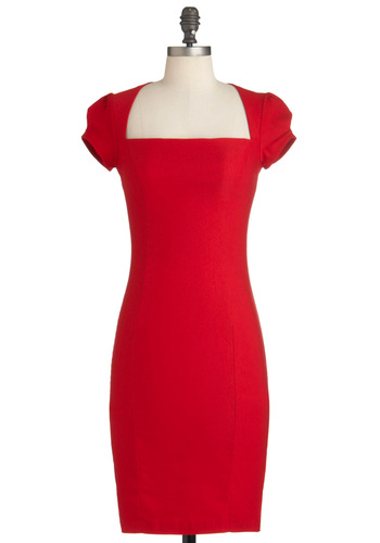Sleek It Out Dress in Cherry - Red, Solid, Work, Shift, Cap Sleeves, Pinup, Mid-length