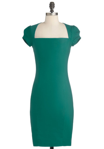 Sleek It Out Dress in Jade - Green, Solid, Work, Shift, Cap Sleeves, Pinup, Variation, Mid-length