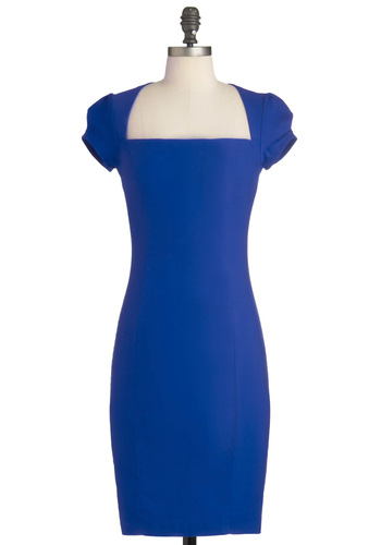 Sleek It Out Dress in Cobalt - Mid-length, Blue, Solid, Sheath / Shift, Cap Sleeves, Pinup, Variation, Basic, Best Seller, Top Rated