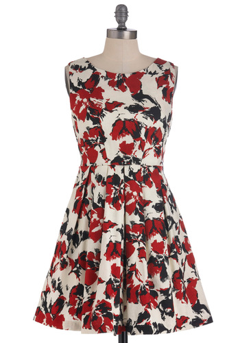 One in the Flame Dress - Short, Multi, Red, Black, White, Floral, Pleats, Pockets, Party, Sleeveless, Fit & Flare, Daytime Party