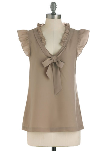 Iced Coffee To Go Top - Mid-length, Tan, Solid, Ruffles, Cap Sleeves, Tie Neck, Work
