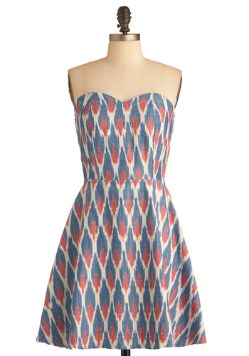 Heirloom Quality Dress by Mata Traders - Multi, Red, Blue, White, Print, Party, Strapless, Fit & Flare, Folk Art, Eco-Friendly, Mid-length