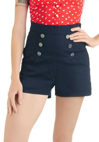 I Propose a Coast Shorts - Blue, Solid, Buttons, Pockets, Nautical, Mid-length