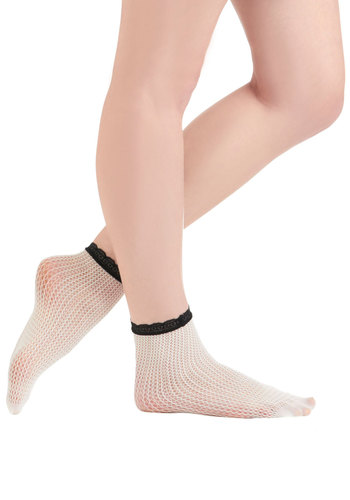 Here In the Mesh Socks - White, Black, Solid, Lace, Knitted, Trim