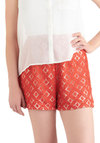 Rust-ic Pathways Shorts - Tan / Cream, Lace, Orange, Mid-length, High Waist