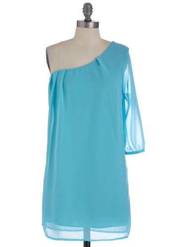 Going Abroad Dress in Sky - Short, Blue, Solid, Pleats, Party, Shift, One Shoulder, Sheer