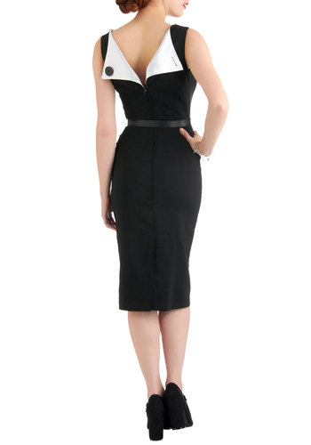 Folded Fatale Dress by Bettie Page - Long, Black, White, Solid, Buttons, Work, Sheath / Shift, Sleeveless, Belted, Party, Vintage Inspired, 40s, Pinup, Cocktail