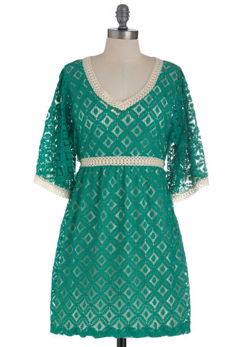 Renaissance Flair Dress - Short, Green, Tan / Cream, Crochet, Empire, 3/4 Sleeve, Lace, Boho