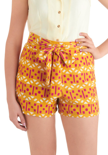 Confetti, Set, Go! Shorts - Yellow, Pink, White, Print, Casual, Summer, Mid-length, Belted