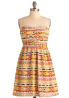 Style on the Horizon Dress - Multi, Multi, Print, Exposed zipper, Casual, A-line, Strapless, Summer, Folk Art, Mid-length, Sweetheart