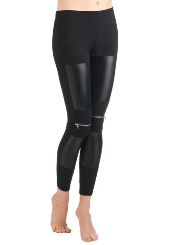 London Is Calling Leggings - Black, Solid, Exposed zipper, Knitted, Long, Girls Night Out, Black