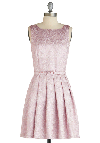 Shimmer Party Dress by Eva Franco - Mid-length, Pink, Floral, Embroidery, Pleats, Special Occasion, Party, Sleeveless, Spring, Belted, Fit & Flare