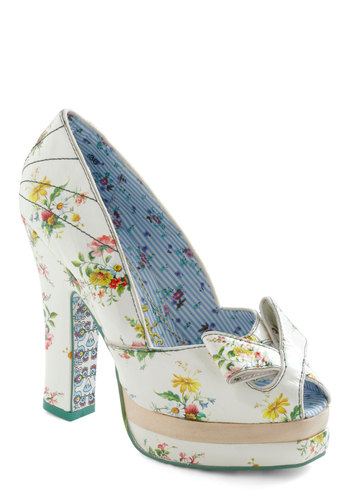 Greenhouse Gala Heel by Irregular Choice - Floral, Spring, High, Peep Toe, White, Multi, Party