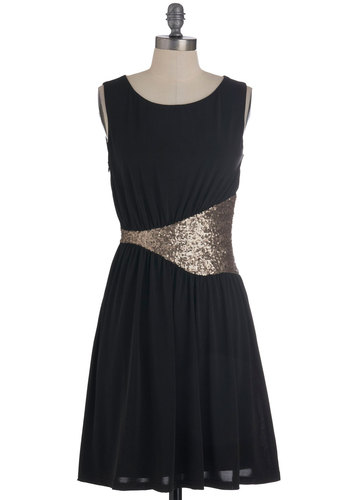 Wave of Applause Dress - Mid-length, Black, Silver, Sequins, Party, Film Noir, Sleeveless