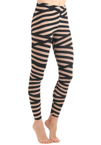 Tied Up In Style Leggings - Casual, 80s, Urban, Tan / Cream, Stripes, Black, Long, Girls Night Out
