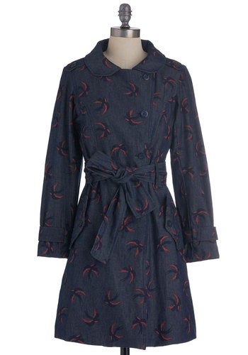 Low and Be Bold Coat in Sparrows - Blue, Pink, Buttons, Casual, Long Sleeve, Belted, Print with Animals, Pockets, Cotton, Coral, 2, Long