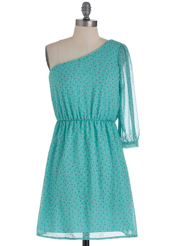 Dose of Dots Dress - Short, Blue, Green, Pink, White, Polka Dots, Party, One Shoulder, Fit & Flare