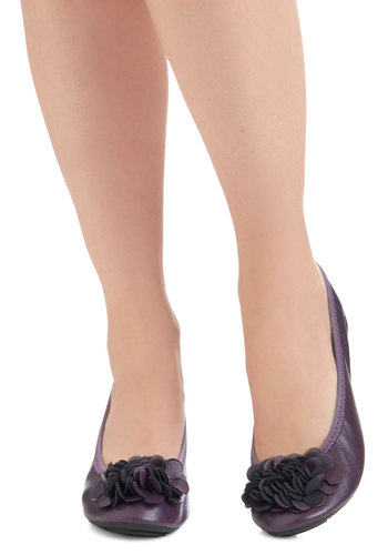 Room to Bloom Flats in Purple - Purple, Solid, Flower, Flat, Good, Casual, Faux Leather