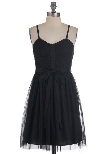 You and Ivy Dress in Black - Black, Party, 80s, Spaghetti Straps, Mid-length, Solid, Vintage Inspired, Sheath / Shift, Belted