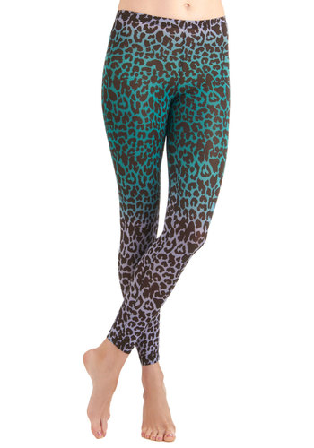 Wildly Wonderful Leggings - Casual, Vintage Inspired, 80s, Green, Animal Print, Mid-length, Multi, Brown