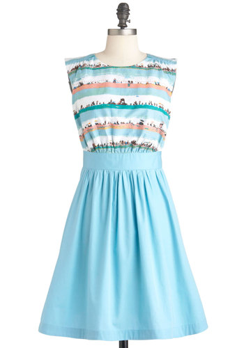 Too Much Fun Dress in Beach by Emily and Fin - Blue, Orange, White, Print, Party, Vintage Inspired, Sleeveless, International Designer, Mid-length, Fit & Flare