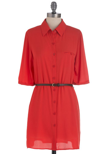 Belting Out Songs Tunic in Orange - Long, Solid, Buttons, Belted, Orange, Pockets, Casual, 3/4 Sleeve