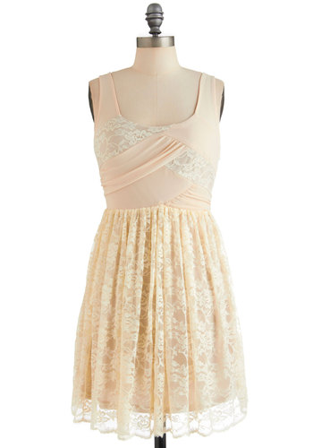 Lace Yourself Dress - Cream, Lace, Party, Tank top (2 thick straps), Spring, Short, Floral, Shift, Pastel, Sheer