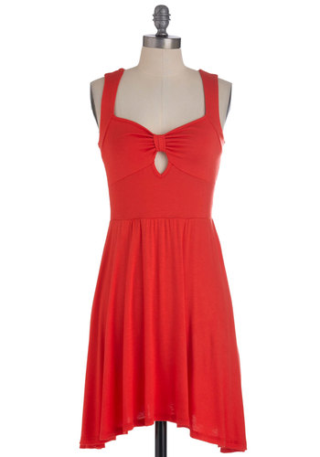 Park Regular Dress - Mid-length, Red, Solid, Cutout, Handkerchief, Casual, Sheath / Shift, Tank top (2 thick straps), Summer, Jersey, Sweetheart, Tis the Season Sale