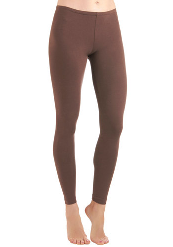 Ace of Basics Leggings in Brown - Mid-length, Casual, Urban, Brown, Solid, Cotton, Variation