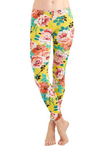 Petal Project Leggings - 80s, 90s, Multi, Yellow, Green, Pink, Floral, Long