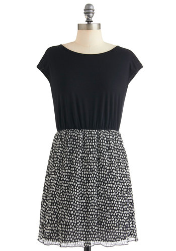 Ink Spot Dress - Short, Black, White, Buttons, Cutout, Twofer, Short Sleeves