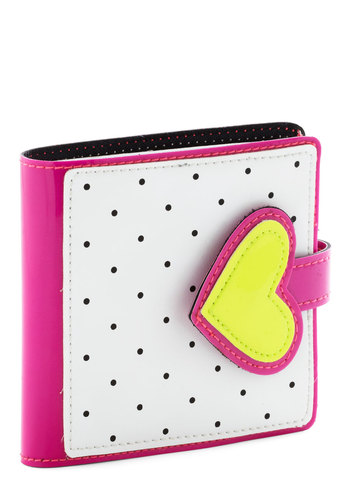 Bill of Wealth Wallet in Heart - White, Yellow, Pink, Black, Polka Dots