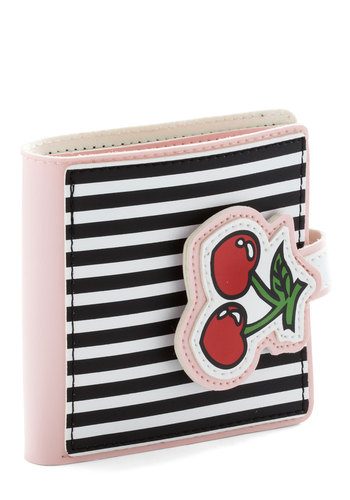 Bill of Wealth Wallet in Cherries - Red, Green, Black, Stripes, Fruits, Pink, White