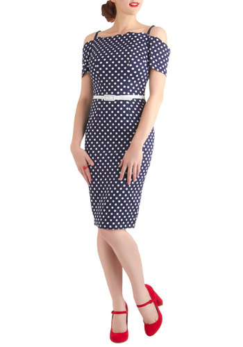 Dot This Down Dress by Bettie Page - Long, Blue, White, Polka Dots, Party, Nautical, Pinup, Sheath / Shift, Spaghetti Straps, Belted, Off the Shoulder, Cocktail, Cotton, 40s, 50s, Vintage Inspired, Top Rated, Gifts Sale