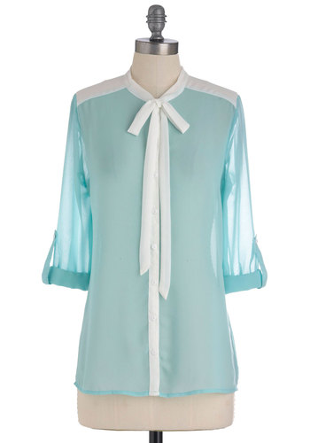 Only Wanna Breeze with You Top - Blue, White, Buttons, Long Sleeve, Tie Neck, Work, Spring, Mid-length, Pastel, Sheer, Button Down, Colorblocking