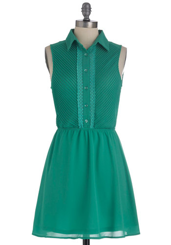 Fielding Questions Dress - Short, Green, Solid, Trim, Shirt Dress, Sleeveless, Sheer, Button Down, Collared