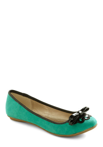 Lady Lichen Flat - Green, Black, Bows, Flat, Casual, Faux Leather