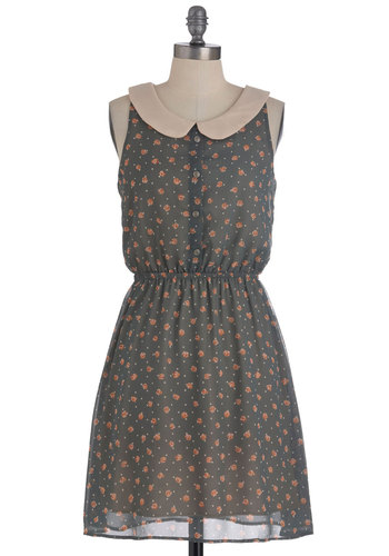 Sherwood Florist Dress - Mid-length, Grey, Pink, Polka Dots, Floral, Peter Pan Collar, Sleeveless