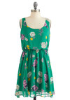 The Bee's Peonies Dress - Short, Green, Yellow, Purple, Tan / Cream, Floral, Sleeveless