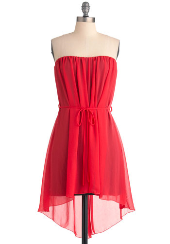 Icy Pop Star Dress - Short, Casual, Red, Solid, Sheath / Shift, Strapless, High-Low Hem, Belted, Holiday Party, Sheer, Coral