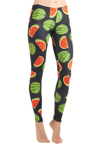 Fresh Take Leggings in Watermelon - Casual, Multi, Red, Green, Black, Novelty Print, Fruits, Long, Spring, Summer, Good, Top Rated