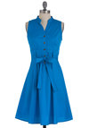 Pigment of the Imagination Dress - Mid-length, Blue, Solid, Casual, Shirt Dress, Sleeveless, Cotton, Button Down, Fit & Flare