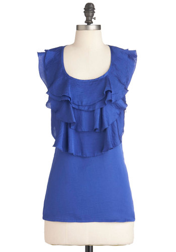 Tide and Seek Top - Mid-length, Blue, Solid, Ruffles, Racerback, Tis the Season Sale