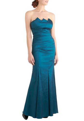 Mermaid for You Dress - Long, Blue, Solid, Cutout, Pleats, Special Occasion, Strapless, Wedding, Holiday Party, Satin